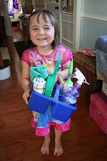 Tori LOVES to help me clean, so what a neat idea to put together a cleaning caddy for your child......a duster, spray bottle of water, rag, mini broom and dust pan etc.