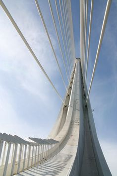 Puente del Alamillo, Sevilla, Spain The Alamillo Bridge was built for Seville's Expo which celebrated the anniversary of the famous voyage by Christopher Columbus. Bristol, Gateshead Millennium Bridge, Cable Stayed Bridge, Pont Du Gard, Famous Bridges, Bridge Design, Santiago Calatrava, Amazing Architecture, Modern Architecture