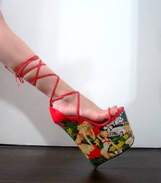 8 inch Handmade Red Hawaiian Pin up Lace Ankle Strap Wedge High Heel Platform Woman Stripper Shoes Shoe has a 8 inch wedge with a 4 inch front platform. Handmade in the U.S.A Brand New Without Box WIDTH: Medium (B,M) To ensure a good fit we can gladly provide length measurements. Just