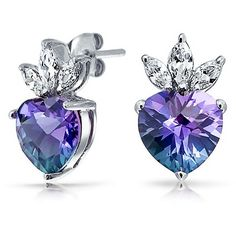 Bling Jewelry Royal Heart Studs ($30) ❤ liked on Polyvore featuring jewelry, earrings, blue, stud-earrings, heart stud earrings, blue jewelry, heart shaped earrings, blue earrings and crown jewelry