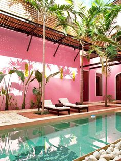 Exterior Pool at the Rosas & Xocolate Boutique Hotel and Spa in Mexico Spa Design, House Design, Patio Design, Design Ideas, Design Projects, Murs Roses, Mexico Honeymoon, Spa Hotel, Pink Hotel