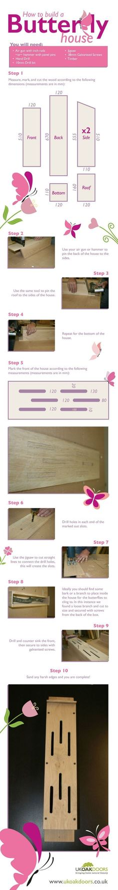 How to build a butterfly house in ten simple steps - with photos #butterflies #DIY #infographics #howtobuildabirdhouse