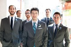 My handsome groom and his groomsmen (All suits and Si's tie by Express)