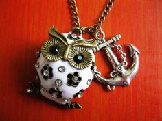 white cute owl and anchor necklace(gift box package) #owl #necklace www.loveitsomuch.com
