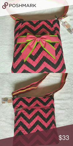 -Host Pick-Chevron Messenger Bag SO EXCITED TO HAVE MY 1ST HOSTPICK!!!! 12/19/16    Beautiful, canvas, pink, black, and lime green messenger bag.   Small inside zipper pocket. Purse zips closed.   Strap is adjustable for any wear preference. Bags