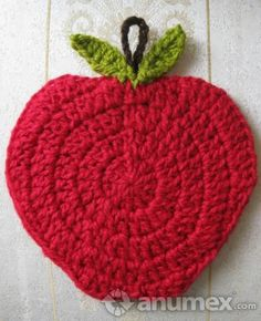 Apple crochet coaster or potholder