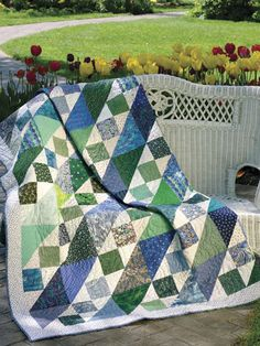 Squares & Triangles:  Dig out those blue, green and cream scraps to make this simple-to-stitch quilt.