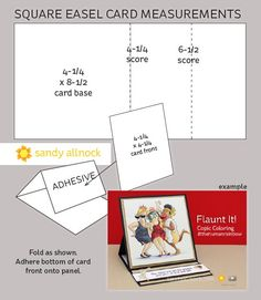 square easel card measurements