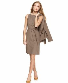 Great look for spring or summer Sheath and Jacket. Taupe or lighter Neutral colors OK for Spring and Summer but not a year round look. Simple pumps and jewelry.