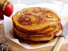 Light, golden and fluffy, these divine pancakes are stuffed with fresh, juicy apple pieces to create a sweet brunch dish. Serve these fruity pancakes drizzled with oozing maple syrup and topped with a dollop of thick vanilla marscapone for a brilliant weekend breakfast.