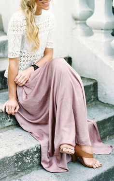 Blush maxi skirt + lace tee.