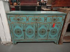 Asian Inspired Media Stand Console Table in Turquoise with Gold Detail (Los Angeles). $1,399.00, via Etsy.