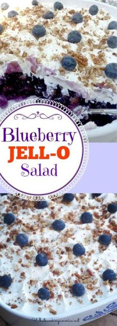 Blueberry Jello salad mixed with pineapple and blueberry pie filling is a classic JELL-O dish from the that is popular in the Southern states. I would probably use Cool Whip for the topping! Blueberry Jello Salad, Blueberry Recipes, Fruit Jello, Blueberry Ideas, Orange Jello Salads, Blueberry Jelly, Blue Jello, Fruit Party, Dessert Salads