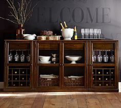 Saxton Entertaining Bar Buffet 1 Double Wine Cabinet 2 Single Cabinets Tuscan Chestnut Stain Dining AreaDining