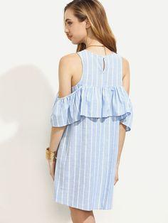 Shop Blue Striped Cutout Ruffle Cold Shoulder Dress online. SheIn offers Blue Striped Cutout Ruffle Cold Shoulder Dress & more to fit your fashionable needs.