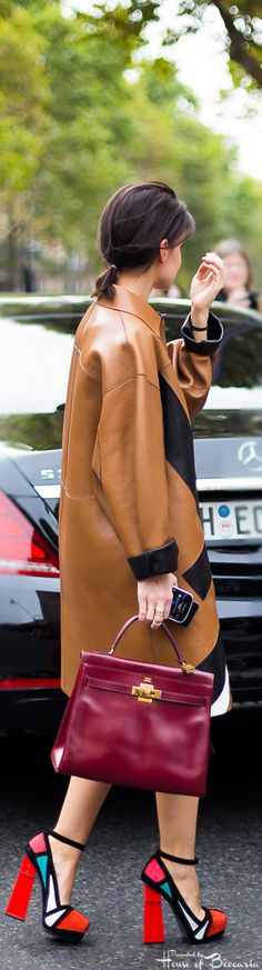~Miroslava Duma - Hermes Oxblood Leather Kelly Bag | House of Beccaria