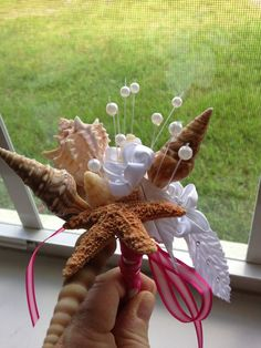 Beach Wedding Seashell Wand Bouquet for Bride by caroledoc on Etsy, $35.00