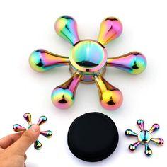 Rainbow Hand Spinner Metal Fidget Spinner Anti Stress Puzzle Christmas Gift