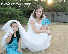 Bride with little sisiter/flower girl.
