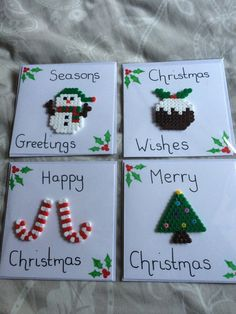 Hama bead Chtistmas Cards                                                                                                                                                                                 More