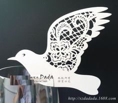 bird Wedding Place Card For Wine Glass Laser Cut On Pearlescent Card
