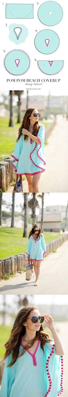 Traje de Playa DIY - merricksart.com - Pom-pom Trim Beach Coverup
