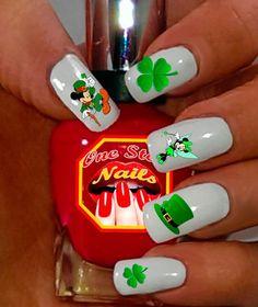 Patricks Day Clear Vinyl Peel and Stick nail decals. Light Colored Nails, Light Nails, Nail Art Stickers, Nail Decals, Us Nails, Hair And Nails, Packer Nails, Maleficent Nails, Minion Nail Art