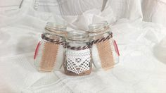 Handmade decorated jars with lace. rope and Yuta. 30 lei/buc 7 euro/piece Just one piece. https://www.facebook.com/homemaderulescluj