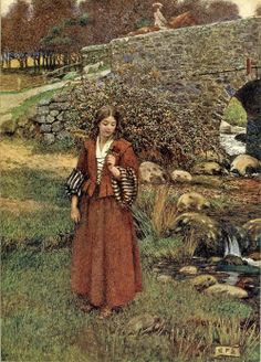 Pre Raphaelite Art: The Bailiff's Daughter of Islington. The Book of Old English Songs and Ballads 1915. Eleanor Fortescue-Brickdale