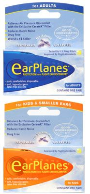 Ear plugs with filters designed to relieve changes in air pressure while flying. So worthwhile, especially if you have kids!