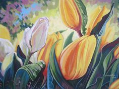 Spring tulips painting on canvas