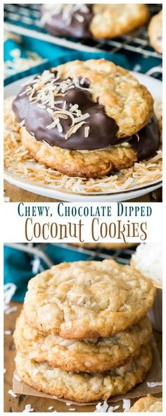 Buttery, chewy Coconut Cookies made with flake coconut and (optional) caramel chips, dunked in dark chocolate and topped off with toasted coconut. Coconut Recipes, Baking Recipes, Cookie Recipes, Coconut Deserts, Cookie Ideas, Chocolate Dipped Cookies, Caramel Cookies, Chocolate Desserts, Dark Chocolate Recipes