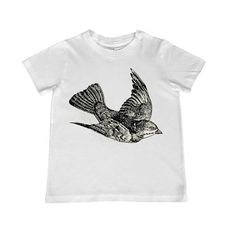 This gorgeous vintage flying bird illustration from an old dictionary is applied to a childrens t-shirt of your choice by professional heat