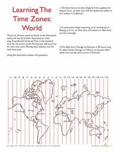 Worksheets: World Time Zones