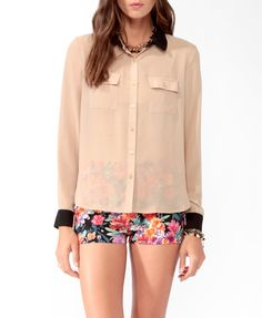 High-Low Contrast Shirt | FOREVER21 - 2025100636