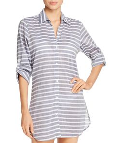 09230f1aba3 Tommy Bahama Breton Stripe Boyfriend Shirt Swim Cover-Up - S