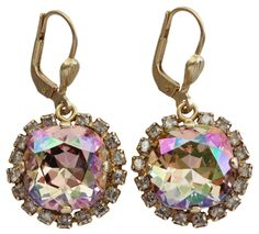 Catherine Popesco Goldtone Cushion Crystal Border Earrings, 4537G Purple Haze Shade. Antiqued goldtone leverback wire earrings with purple haze and shade crystals. Earrings are approx. 1 1/4 inch long (top of wire dangle to bottom of drop) and 5/8 inch wide. Drop itself is approx. 5/8 inch long. NOTE: Image is often enlarged to show detail - please refer to product dimensions for actual size. Comes with a Catherine Popesco jewelry pouch and signature carding. Due to the handcrafted nature…