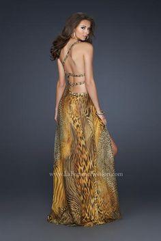 9a523e8515 La Femme 17207 - Animal Print One Shoulder Gown Prom Dress