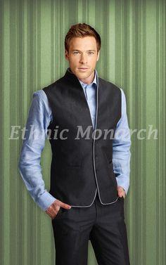 High Neck Waist Jacket With Trouser http://www.ethnicmonarch.com/linen-club/waist-coat/high-neck-waist-jacket-with-trouser.html