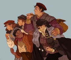 """cy-lindric: """"I started reading 's Gentleman Bastard series five centuries after everybody else so here's a sketch of the book 1 crew ! I'm enjoying it a lot so if you're one of the hundred people who recced it to me in the past : thank. Character Drawing, Character Concept, Concept Art, High Fantasy, Fantasy Art, Tumblr, Dnd Characters, Fictional Characters, Costumes"""