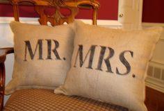 Burlap pillows =)