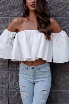White Off-The-Shoulder Ruffled Details Crop Top - US 13.95 -YOINS 3344e3db2