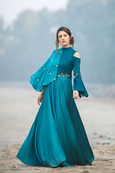 Madame Me, Collar Bell Sleeve Dress Indian Designer Outfits, Indian Outfits, Designer Dresses, Stylish Dresses, Fashion Dresses, Lehnga Dress, Lehenga Gown, Anarkali, Indian Gowns Dresses