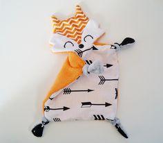 doudou renard, doudou plat minky - orange flèches : Jeux, peluches, doudous par barbotille