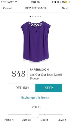 Purple is a color that I do not have much of, but it is so pretty! The cutouts on this top are very pretty too!