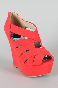 Qupid Finder-145X Strappy Peep Toe Platform Wedge $30.40