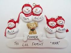 Personalize Snow Family of 5 Ornament with Tan Dog