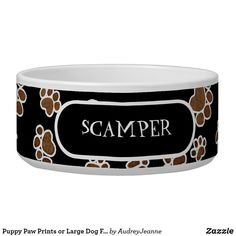 Puppy Paw Prints or Large Dog Food Feeding Dish Large Dog Bowls, Pet Bowls, Large Dogs, Shape Names, Dog Pillow Bed, Outdoor Dog, Large Animals, Puppy Paw, Paw Prints