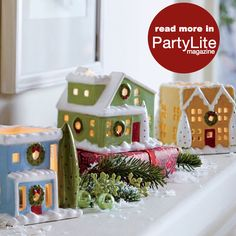 Christmas Whimsy Village Square Tealight Trio #PartyLite #candles http://eliciaorsbourn.partylite.co.uk Facebook Page: PartyLite by Elicia