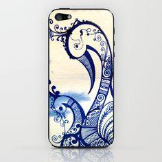 Misty Blue iPhone & iPod Skin by Humna Mustafa - $15.00  #henna #craft #iphone #iphone #case #british #designer #peacock #blue #bird